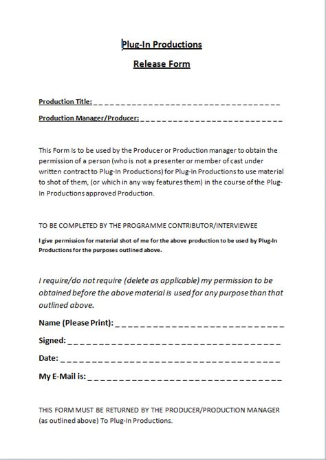 Plug In Productions Crew Contract Release Form Pluginproductions S Blog Contract Release Form Template