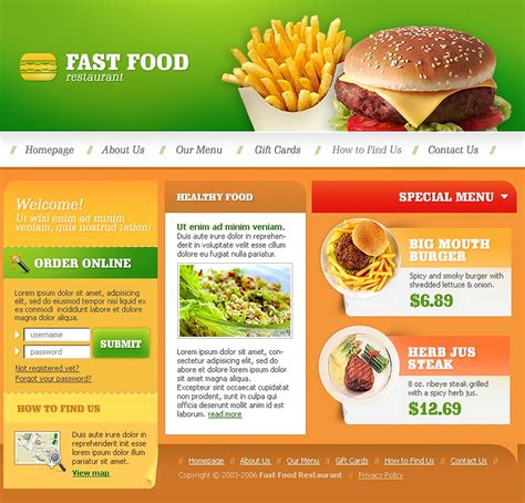 food templates fast food restaurant website template 12239