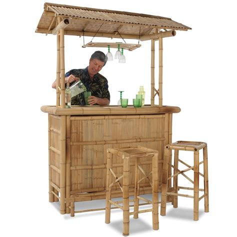 Backyard Tiki Bar Sets by The Genuine Bamboo Tiki Bar Hammacher Schlemmer Cabin