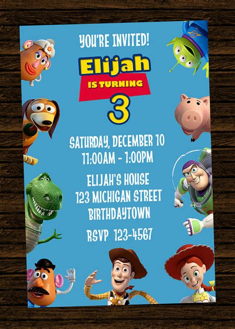 printable toy story birthday party invitations