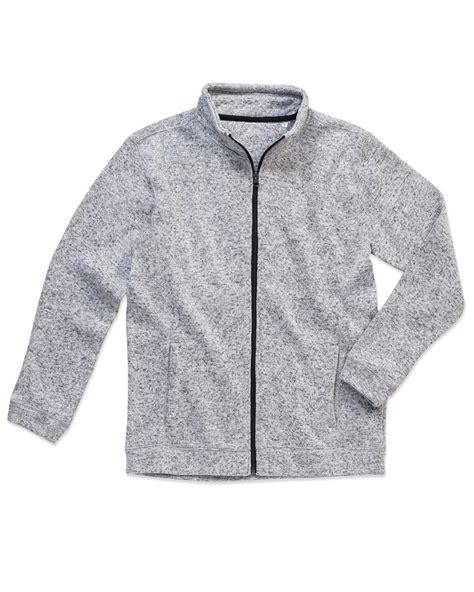 Knitted Jacket Light Gray 61468 active mens knit fleece jacket light grey sub 32 ski