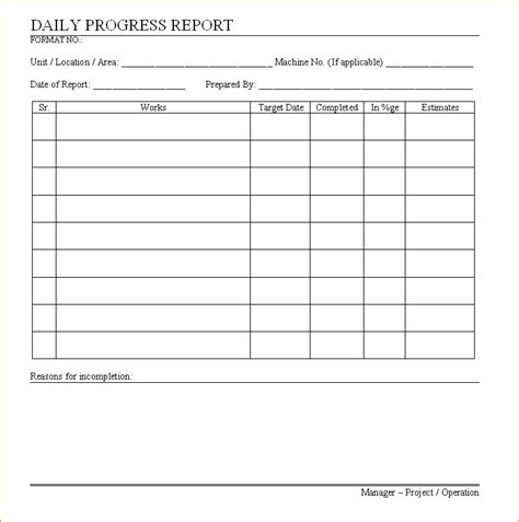 Daily Progress Report Template   sanjonmotel