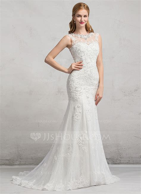hochzeitskleid jjshouse trumpet mermaid scoop neck sweep train tulle lace wedding