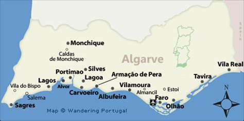 Porches Algarve Map by Algarve Map Map Of The Algarve S Top Cities For Tourists