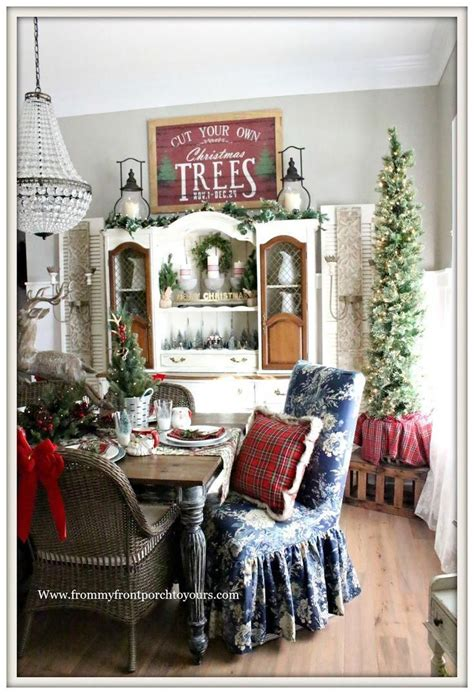 french country farmhouse christmas dining room red plaid