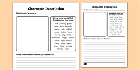 Character Description Writing Templates Description Template