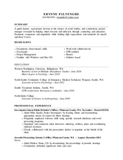 Resume Words For Learner Erynne Resume 3 Word
