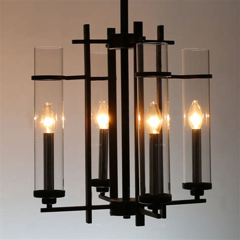 Metal Chandelier Shades Modern Clear Glass Shades And Black Metal Chandelier Modern Chandeliers New York By
