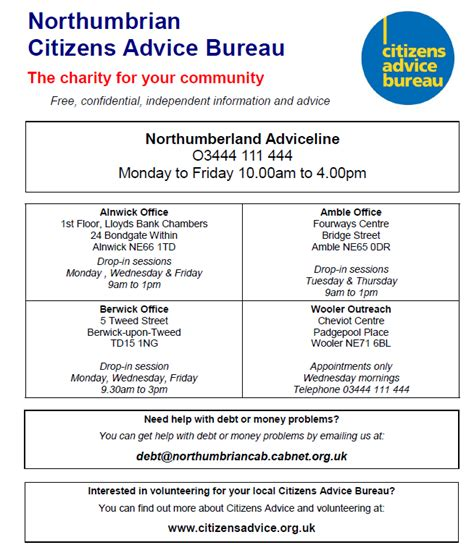 Bank Letter Northumbria Citizens Advice Bureau Glanton Community Website Northumberland Uk