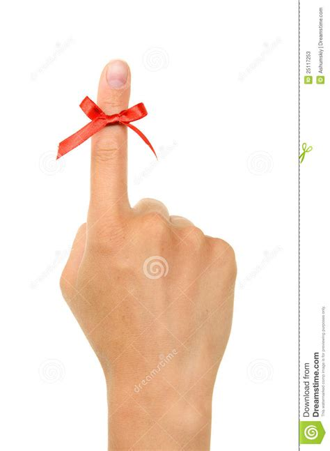 Finger String - string around finger as a reminder stock photos