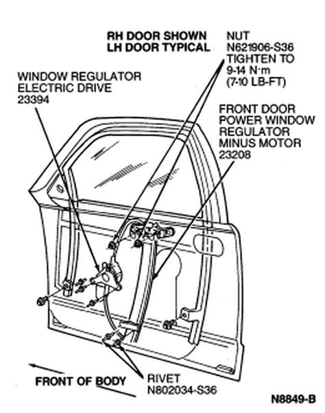 Need instructions for removal of the window regulator 1994