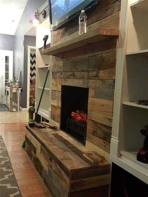 diy pallet wood fireplace hometalk