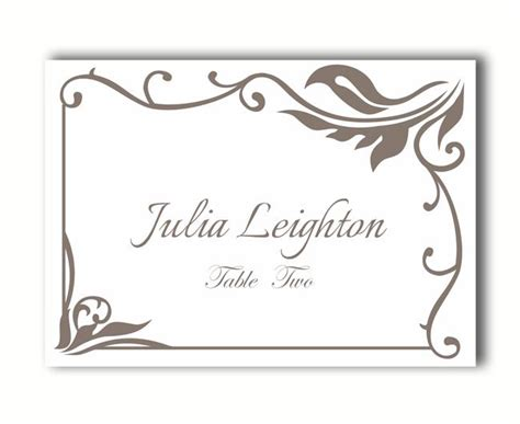 editable name card template wedding place card templates printable