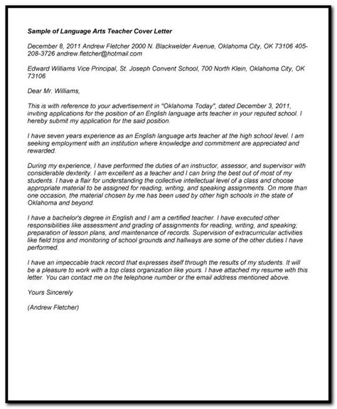 cover letter second language sle cover letter for language arts cover