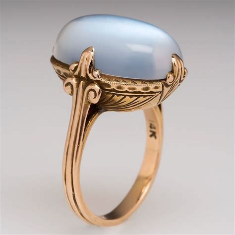 antique large oval moonstone etched cocktail ring solid