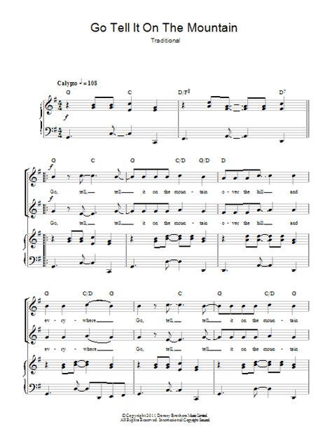 printable lyrics to go tell it on the mountain traditional go tell it on the mountain sheet music at