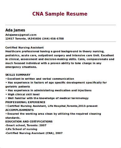 Cna Skills For Resume by 9 Cna Resume Sles Sle Templates