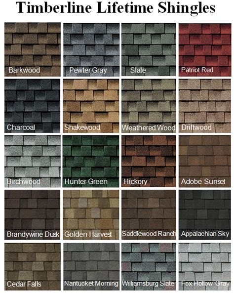timberline shingles color chart roofing shingles colors