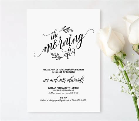 brunch invitation template free wedding brunch invitation template printable post wedding