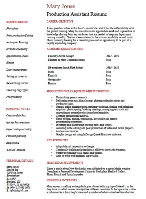 Producer Sle Resume by Resume Sle Production Assistant 28 Images 28 Production Resume Template Production Sle