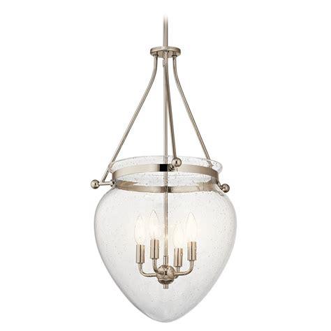 polished nickel pendant light seeded glass pendant light polished nickel kichler