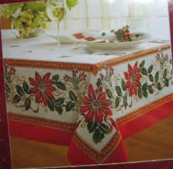 holiday christmas theme tablecloth poinsettia promise