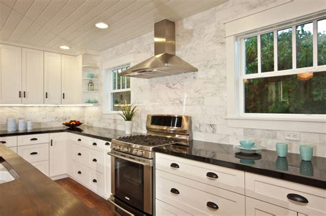 White Kitchen With Backsplash by White Kitchen With Wood Island Carrara Backsplash Black