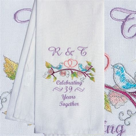 Wedding Anniversary Years Tea Towel by Anniversary Tea Towel Birds Embroidered Gift