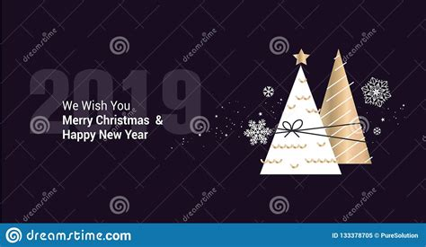 merry christmas  happy  year  business greeting card stock vector illustration