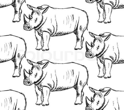 vintage pattern sketch sketch wild rhino vector vintage seamless pattern stock