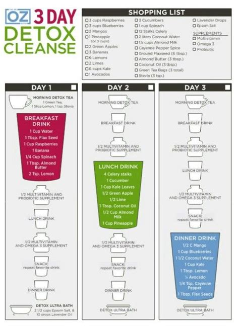 Cleanse And Detox Guidelines by Dr Oz S 3 Day Detox Grocery List Of What To Buy And