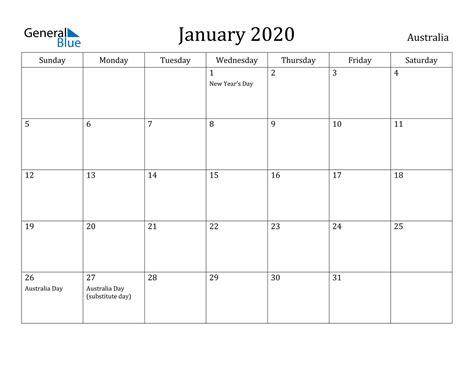 january  calendar australia