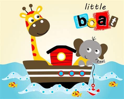 animal cartoon on boat funny animals on boat vector cartoon illustration vector