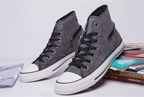 Converse All High Grey the newest high tops grey converse side zip chuck all converse counter genuine