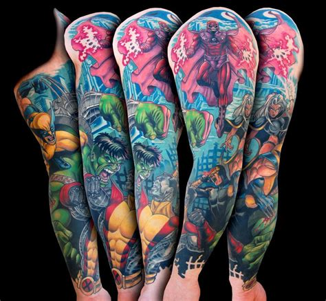 marvel tattoo sleeve xmen vs marvel comic sleeve by spifflicate on