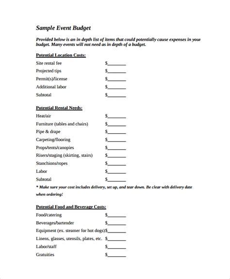 budget templates sample templates