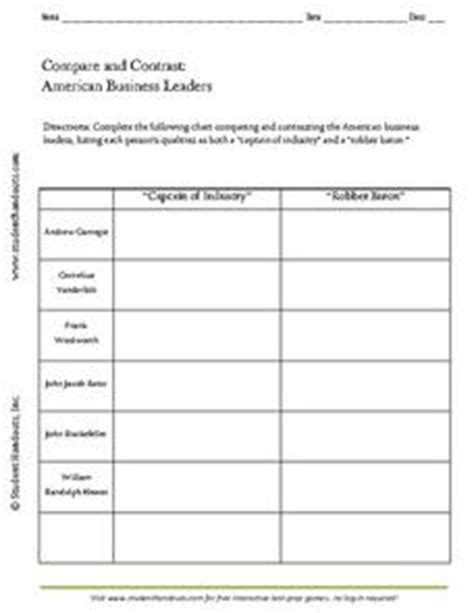 andrew carnegie biography graphic organizer compare and contrast american business leaders worksheet