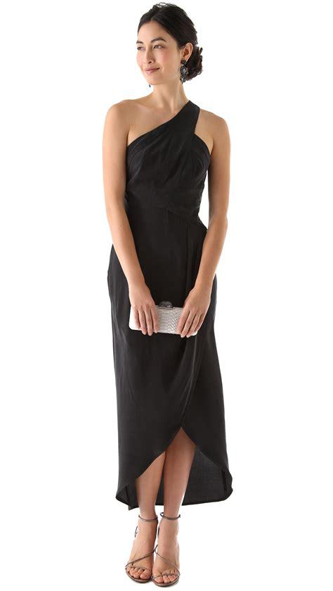 Asymmetrical Draped Skirt Zimmermann One Shoulder Maxi Dress In Black Lyst