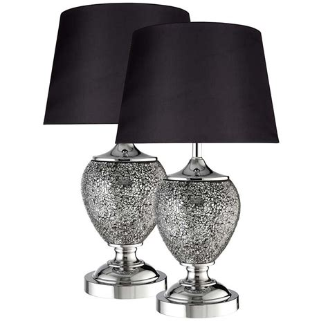 4516GY Mosiac Pair Grey Ceramic Mosaic Urn Table Lamp