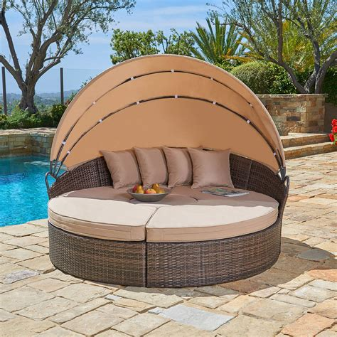 suncrown outdoor rattan  retractable canopy daybed