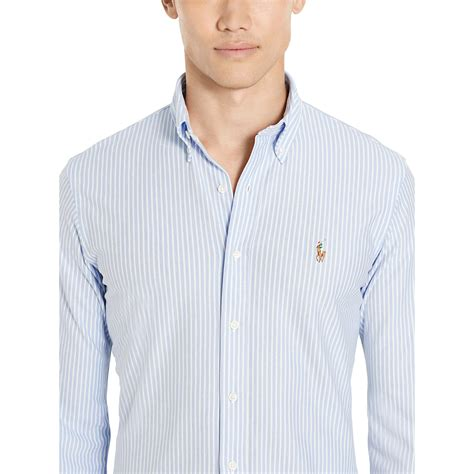 Oxford Strippy Shirt Brown lyst polo ralph slim striped knit oxford shirt in blue for