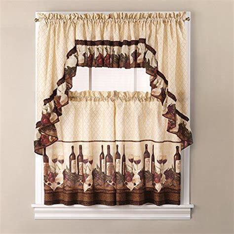 wine curtains valances 3 piece quot vino quot tuscany wine theme kitchen tiers 14
