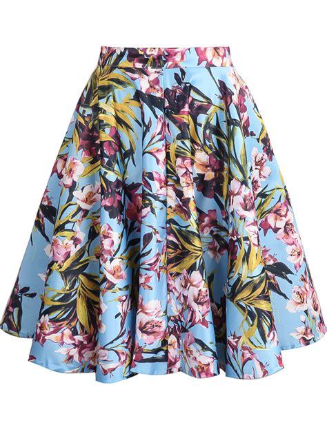 blue floral ruffle skirt sheinside