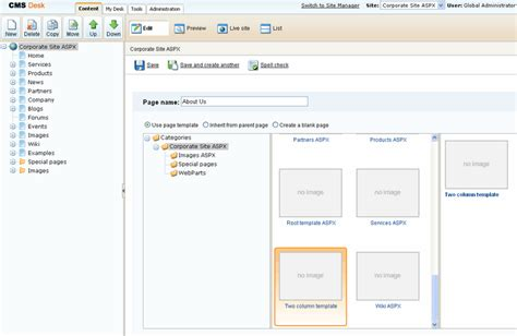 Create A New Page Template creating a new aspx page template