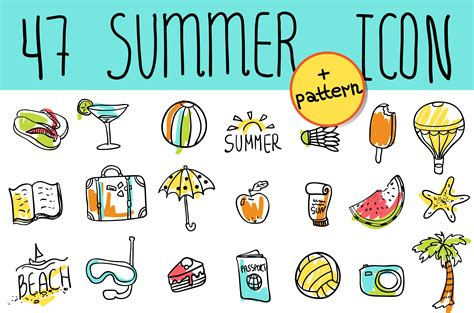 doodle summer summer travel doodle icon icons creative market