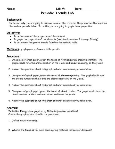Periodic Trends Ionization Energy Chem Worksheet 6 4
