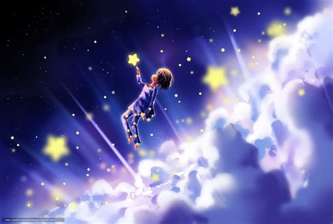 Fairy Princess Wall Mural download wallpaper fantasy child clouds stars free