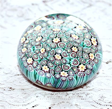 Glass Paper Weight - vintage italian aqua blue blown millefleurs glass