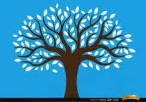 tree drawing on blue background vector free download