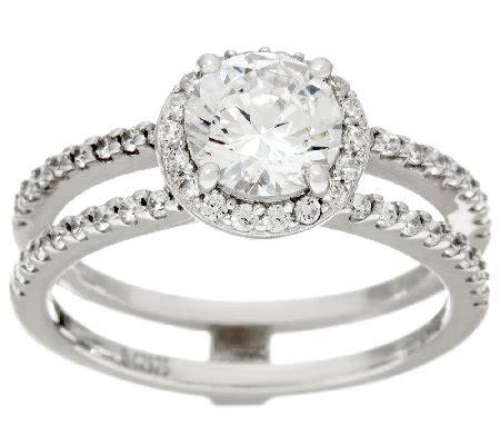 diamonique bridal row ring sterling qvc